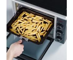 SEVERIN Mini-Four avec Chaleur Tournante, Inclus : Grille et Plaque de Four, 1 600 W, 30 L,TO 2056, Argent/Noir