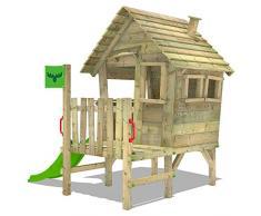 FATMOOSE Maisonnette VanillaVilla Joy XXL tour d'escalade portique bois avec véranda et toboggan