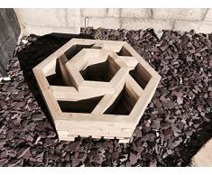 Carré potager hexagonal en bois à 2 niveaux
