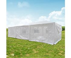 Qisan Canopy Tente Carport Gazebos Marquee Auvent 10 X 30-pieds Domaine Carport avec des flancs, (blanc)