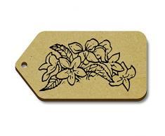 10 x 'Petite Arbuste avec des Fleurs' etiquettes de bagage / cadeau en bois (TG00004066)