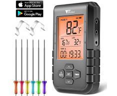 amzdeal Thermomètre Cuisine, Thermomètre Barbecue avec 6 Sondes de Température, Minuteur et Grand LCD Écran, Thermomètre Viande Bluetooth 5.0 sans Fils pour Barbecue, Grill, Four, Fumoir