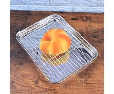 BESTONZON Plateau de cuisson rectangulaire 2 pièces avec huile de vidange et grille de cuisson Plaque de cuisson en inox avec grille de refroidissement amovible
