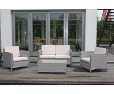 ALU-galore ensemble de jardin lounge en aluminium et polyrotin-loungegarnitur ,orlando'orlando argent