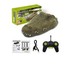 "Yunt-11 12"" Flottant Alligator Decoy, RC Mobile Crocodile Bateau avec hélice, Alligator Head Decoy et étang à Flotteur pour Piscine, étang, Jardin et Patio, 2.4GHz"