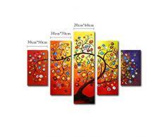 5 Parties Tableaux Peintes à la Main Peintures à l'huile sur Toile Décoration Murale Peinture Décorative Image Moderne Peinture Suspendue Motif Arbre Fruitier Multicolore Bonne Vie Sans Cadre