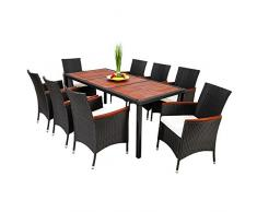TecTake Salon de jardin 8+1 TABLE DE JARDIN EN RESINE TRESSEE CHAISES SALON D'EXTERIEUR POLY ROTIN noir/brun