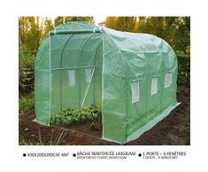 Serre de jardin Tunnel serre de jardin | Serre de jardin tunnel 6m2 en acier galvanisé | Serre de jardin maraichère verte | Idéale pour faire pousser et protéger vos plantes en toutes saisons