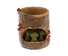 OULII Sedum Succulent pot jardinière Bonsai Trough Box Plant Bureau de bureau Home Garden Pot Décor, cadeau de Noël, paquet de 4 (grenouille verte mignonne + ours noir + pique-nique de lapin + Hérisson)