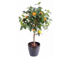 Arbre artificiel fruitier Oranger tête en pot - intérieur - H.85 cm vert orange