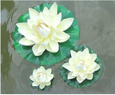 Xuxuou Flottant Lotus Fleurs Artificielles Lotus Nénuphar Simulation Plantes Aquatiques pour Mariage Aquariums Fish Tank Étang Décoration (3)