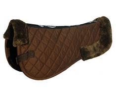 Rhinegold Tapis de selle Confort Demi Pad, cheval Pony Pad – Toutes les tailles de couleurs – Fausse fourrure (poney, Marron)