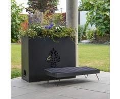 RM Design Brasero en métal, Barbecue décoratif, BBQ de jardin & terrasse, pot à fleurs, Décoration extérieure 60x30x70cm