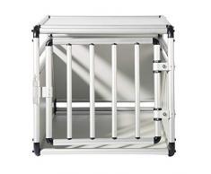 EUGAD Cage de Chien Caisse de Transport en Aluminium et MDF pour Chien Animal,Blanc,54x69x50cm,0059HT
