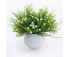 Plastique artificielle Plante Eucalyptus Herbe 7 branches pour Home Décoration de mariage Vert, blanc, 4 pièces