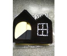 niceEshop(TM) Maison en Forme de Villa avec Matelas pour Chien et Chat (Brun)