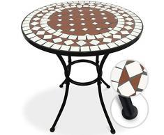 Table de Jardin Mosaïque - Ronde, Ø/H: 60x70cm, Rouge Blanc - Design au Choix - Table Guéridon, Bistrot, Terrasse, Balcon