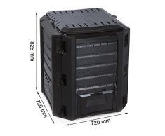 Composteur thermique en plastique résistant aux intempéries Noir 380 l