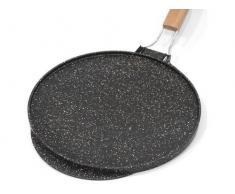 Poêle double fonction plaque/grille en pierre de lave, recouverte de céramique pour grillades ou crêpes, fabriquée en Italie - 32 cm