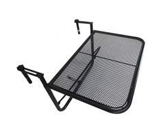 Outsunny Table Suspendue pour Balcon dim. 60L x 55l cm Hauteur réglable 3 Niveaux métal époxy Noir
