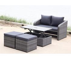 LD Salon de Jardin Lounge 4 Composants Groupe de sièges en polyrotin