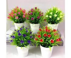 XdiseD9Xsmao 1 Pc Non-fading Presque Naturel Faux Plante Artificielle Fleur Feuilles Pot Bonsaï Salon Salon De Jardin De Bureau Meubles Décor Ornement rouge