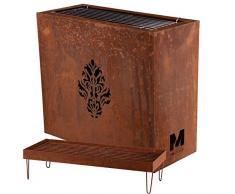 RM Design Brasero en métal couleur rouillé, Barbecue décoratif, BBQ de jardin, pot à fleurs, Décoration extérieure 60x30x70cm