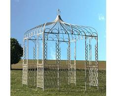 L'ORIGINALE DECO Tonnelle Gloriette Pergola Fer de Jardin Carré Blanc 300 cm x 220 cm x 220 cm