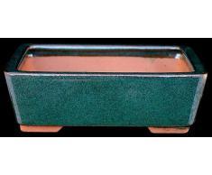 Pot à bonsaï 14x11x4cm sarcelle rectangulaire en grès émaillé