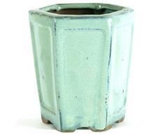 Pot à bonsaï 8x8x10cm vert clair hexagonal en grès émaillé