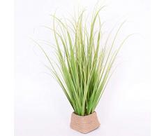 Graminée artificielle dans sa corbeille, vert-jaune, 45 cm - herbe décorative / plante synthétique - artplants