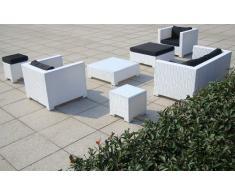 Baidani Salon de jardin Boite 10 C00034 Designer Lounge Sunrise, 2 places, 2 fauteuils, 2 poufs, 1 table basse, table d'appoint avec plateau en verre blanc