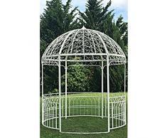 chemin_de_campagne Grande Tonnelle Gloriette Kiosque Dome Fer Blanc de Jardin ø250 cm