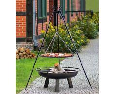 BlackOrange Saturn Brasero Ø 60 cm avec barbecue pivotant Hauteur 180 cm Grille en acier Ø 50 cm