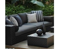 Salon de jardin 5 places Sicilia, en résine tressée plate, coloris noir