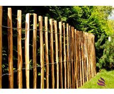 Floranica® - Clôture à lattis imprégnée disponible en 14 tailles, avec lattes en bois bien fendues et régulières et pointes sûres à utiliser comme clôture de jardin de pâturage, clôture de sécurité pour étang, Châtaignier