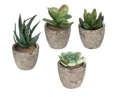 Plantes Artificielles Décoration Assortiment de Pots Lot de 4