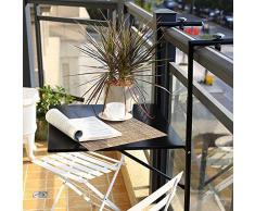Table Rabattable en Fer Forgé,Table Murale Suspendue Balcon,Table Basse Décontractée,Table Murale Réglable en Hauteur,Noir/Blanc (60x40cm)