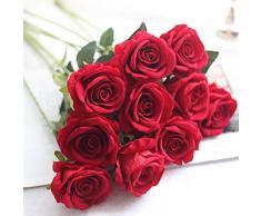 Moonuy Artificielle Faux Roses Flanelle La Mariée Fleur Bouquet De Mariée Fête De Mariage Décor À La Maison Fleurs Fake en Flanelle Wedding Party l'hôtel Table Balcon Décoration (H)