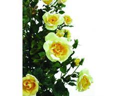 Arbuste artificiel, rosier, 29 fleurs, 850 feuilles, jaune, 140 cm - roses artificielles jaunes / petit arbre artificiel fleuri - artplants