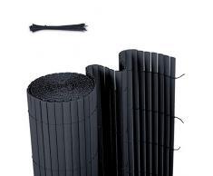 Sekey Canisse en PVC Brise Vue pour Jardin, Balcon et Terrasse, Résistant, Résistant aux intempéries, Intimité, avec Surface Texturée, avec Serre-Câbles, 80 x 400 cm, Anthracite