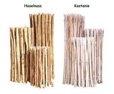 Clôture en lattis bois de noisetier / châtaignier – clôture déroulable nature – bassin et jardin – clôture en bois de noisetier ou châtaignier 50 x 500 cm ( Lattenabstand 3-5 cm ) naturel