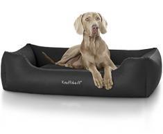 Knuffelwuff panier chien, lit pour chien, coussin, corbeille pour chien Sidney, en cuir, noir XXL 120 x 85cm