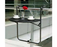 IKAYAA Table Suspendue Pliante Balcon Terrasse Patio Rampe à Manger Meubles de Patio Table Jardin + 2PCS Chaise Portable Patio Extérieur Pliante Intérieure Camping Tabouret