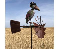 LORIGINALE DECO Girouette à Piqué Éolienne Tuteur Porte Plante Corbeau à Chapeau Coloré 156 cm