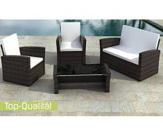 Jet-Line Le Havre Ensemble meubles de jardin style lounge en rotin Marron