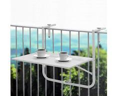 Unbekannt Inconnu Table de Balcon Pliable et réglable en Hauteur Blanc 60 x 40 cm