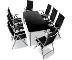 Salon de jardin terrasse Gris clair - Ensemble 8 chaises et table avec plateau en verre noir 190 x 87 x 74 cm DIVERSES COULEURS AU CHOIX