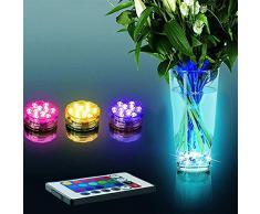 niceEshop(TM) LED Lampes de Plongée avec 24 Touches Télécommande RGB Éclairage étanche à la Batterie Lumières Alimentées pour Aquarium, étangs, Base de Vase, Jardin, Fête, Noël (1 Pièce)