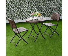 Groupe de meubles de jardin de la table de salon de jardin design en rotin pliant en rotin Lounge